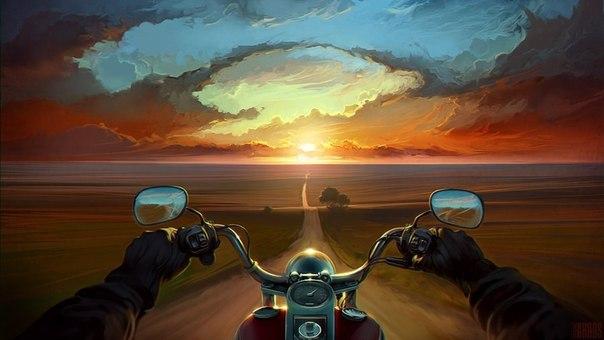 Мотоцикл на горизонте