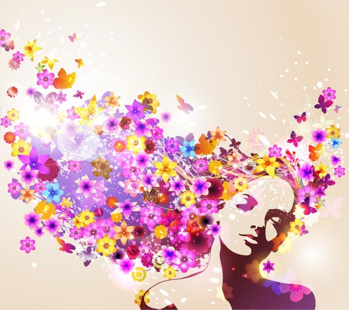 Чувственная женщина с цветами