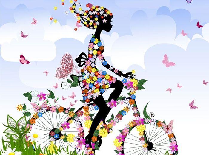 Цветочная велодевочка